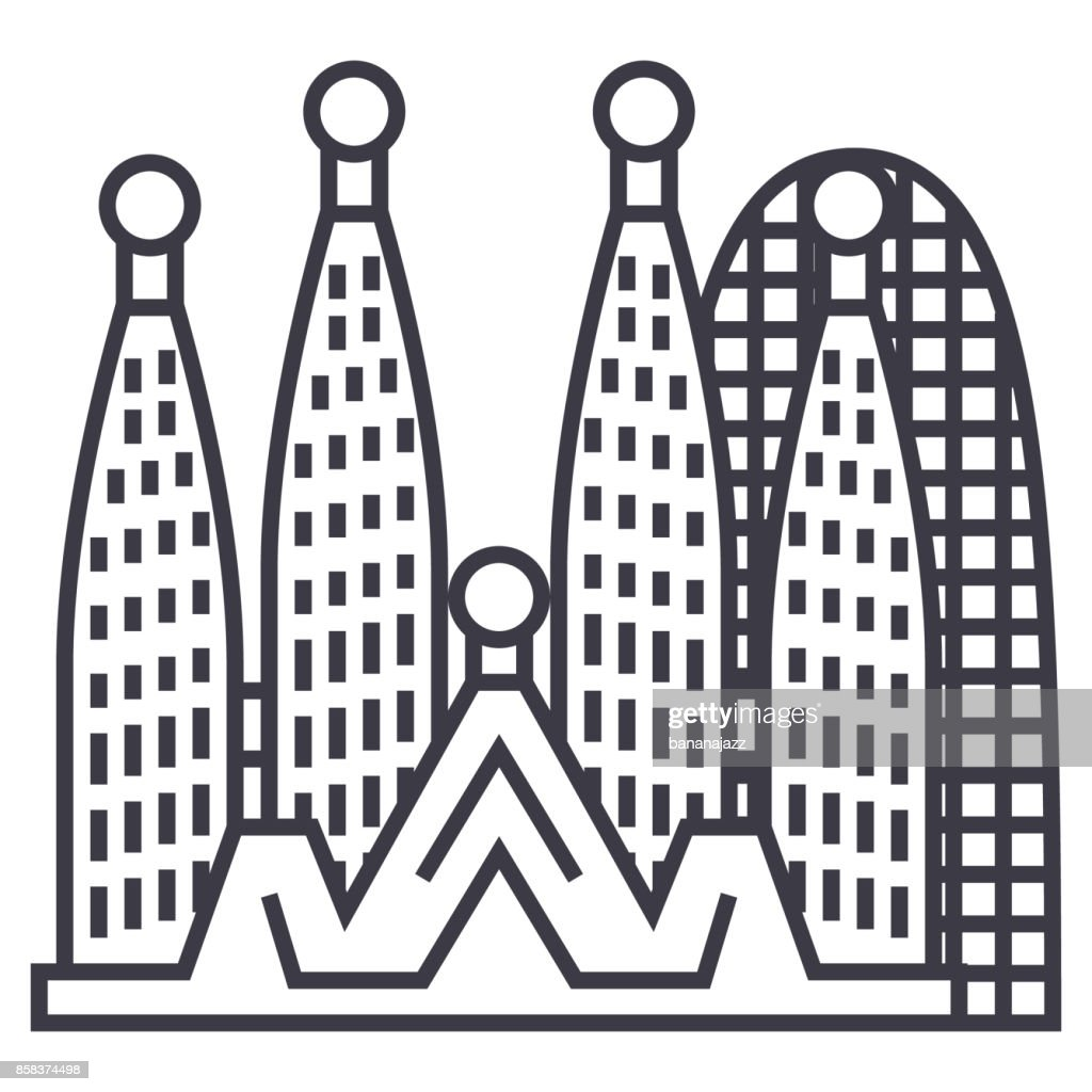 barcelona,sagrada familia vector line icon, sign, illustration on background, editable strokes