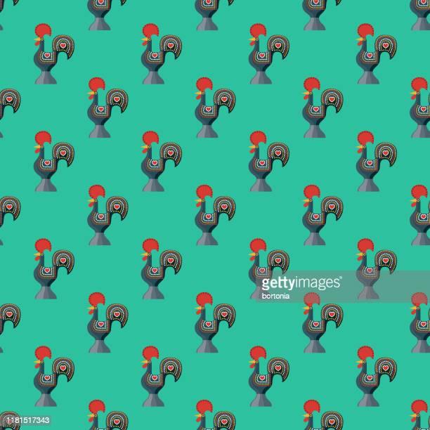 ilustrações de stock, clip art, desenhos animados e ícones de barcelos rooster portugal pattern - galo de barcelos