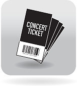 Barcode four fanned concert ticket icon