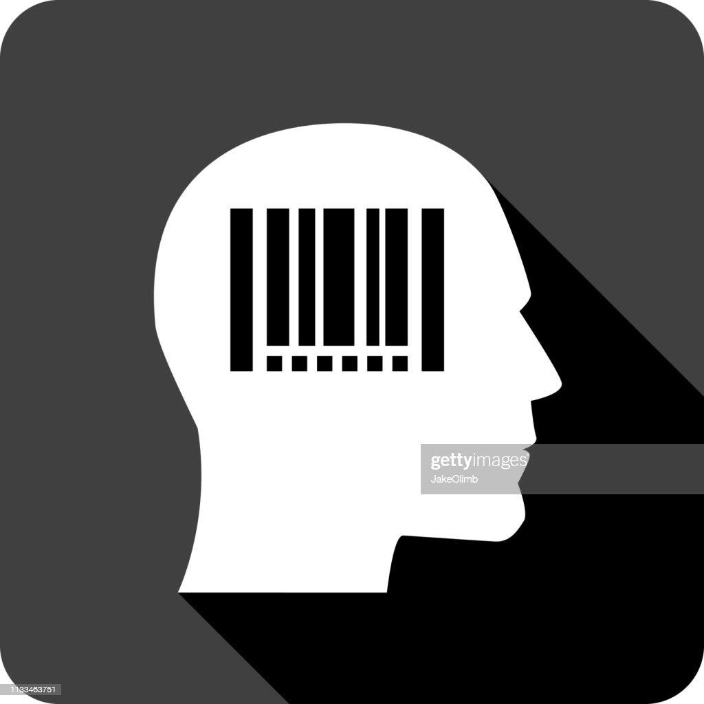 Barcode Head Icon Silhouette : stock illustration