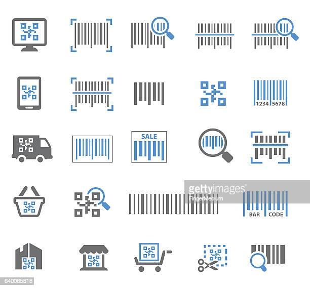 illustrations, cliparts, dessins animés et icônes de barcode icon set - code barre