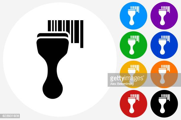 barcode scanner icon on flat color circle buttons - bar code reader stock illustrations, clip art, cartoons, & icons