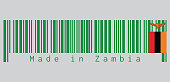 Barcode set the color of Zambia flag, A green field with an orange colored eagle in flight over a rectangular block of red black and orange.