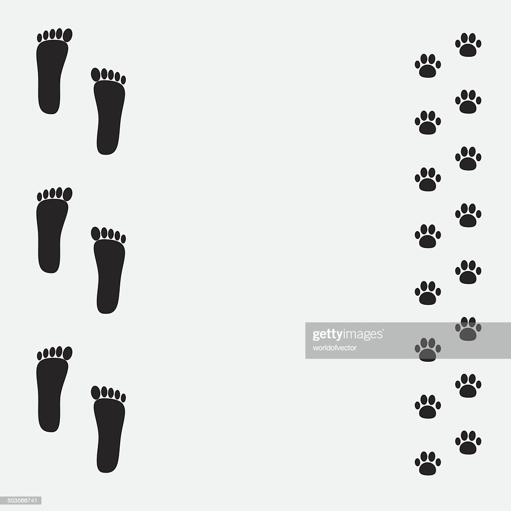 Bare foot print and paw print black frame.