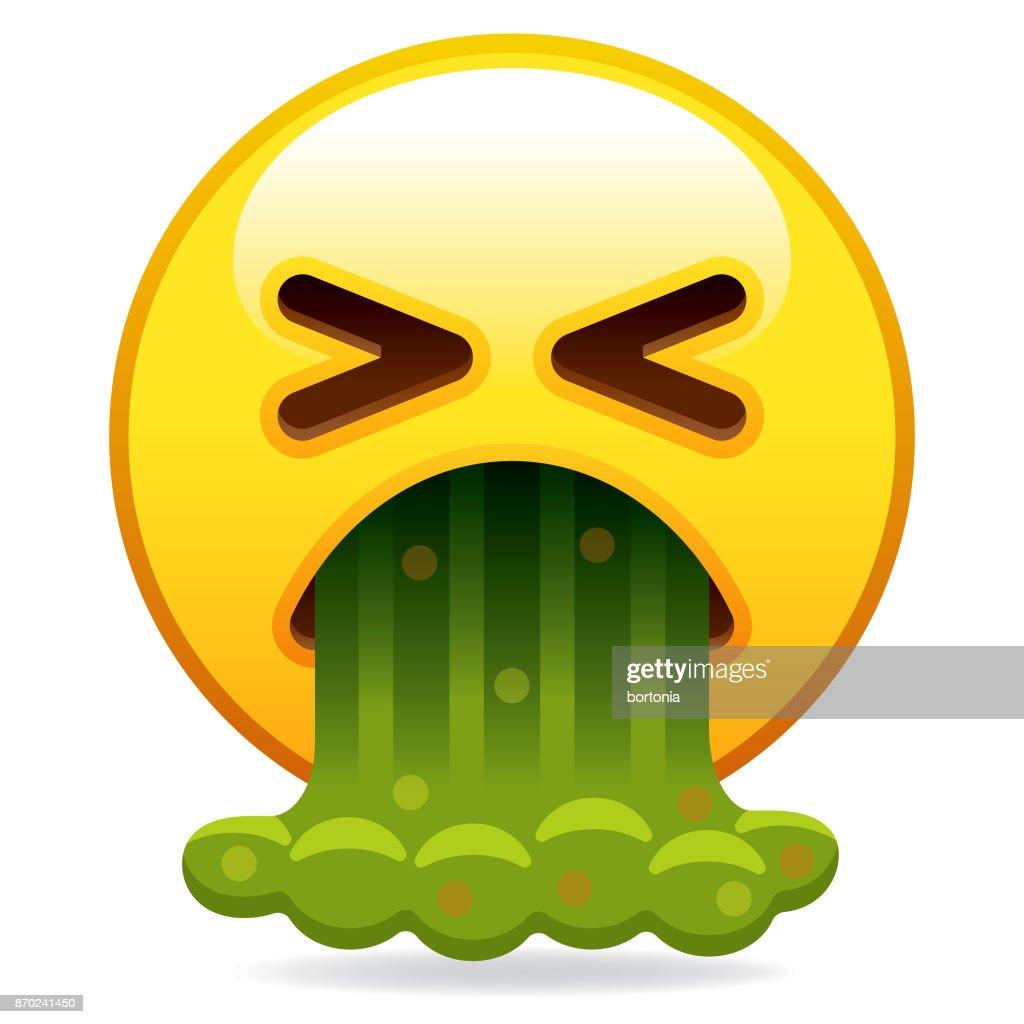 Barfing Emoji Icon : stock illustration