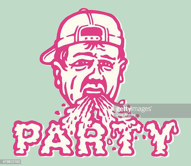 barfing party dude - stag night stock illustrations, clip art, cartoons, & icons