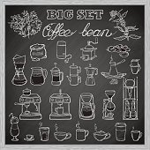Barista coffee tools set. Sketch style. Blackboard background