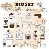 Barista coffee tools set. Sketch style. Doodles. Grunge background.