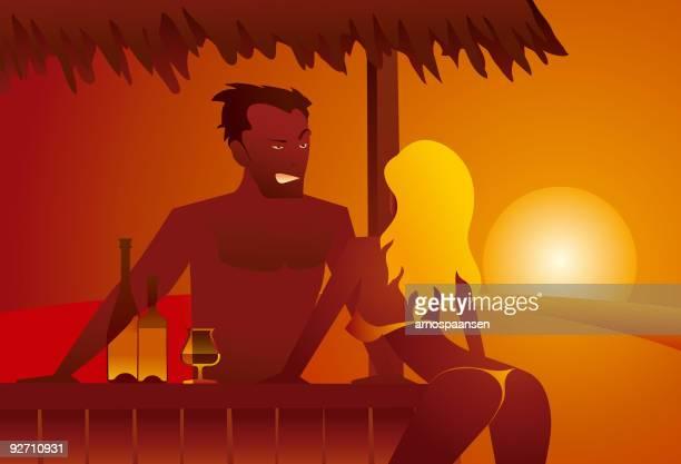 ilustraciones, imágenes clip art, dibujos animados e iconos de stock de barkeeper coqueteando con rubia chica al atardecer - tanga
