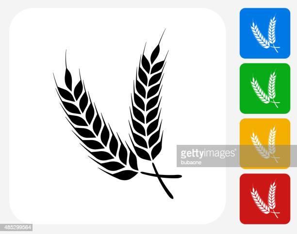 barley icon flat graphic design - barley stock illustrations, clip art, cartoons, & icons