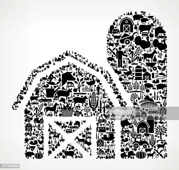 barn farming and agriculture black icon pattern - zea stock illustrations, clip art, cartoons, & icons