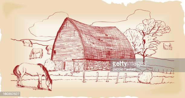 barn with pasture and horses - run down stock illustrations, clip art, cartoons, & icons