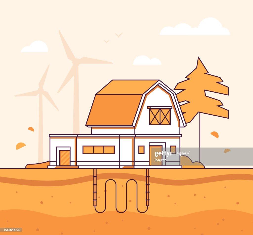Barn with sewage system - modern line design style vector illustration