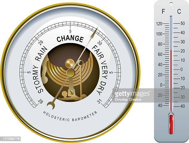 barometer & thermometer - fahrenheit stock illustrations