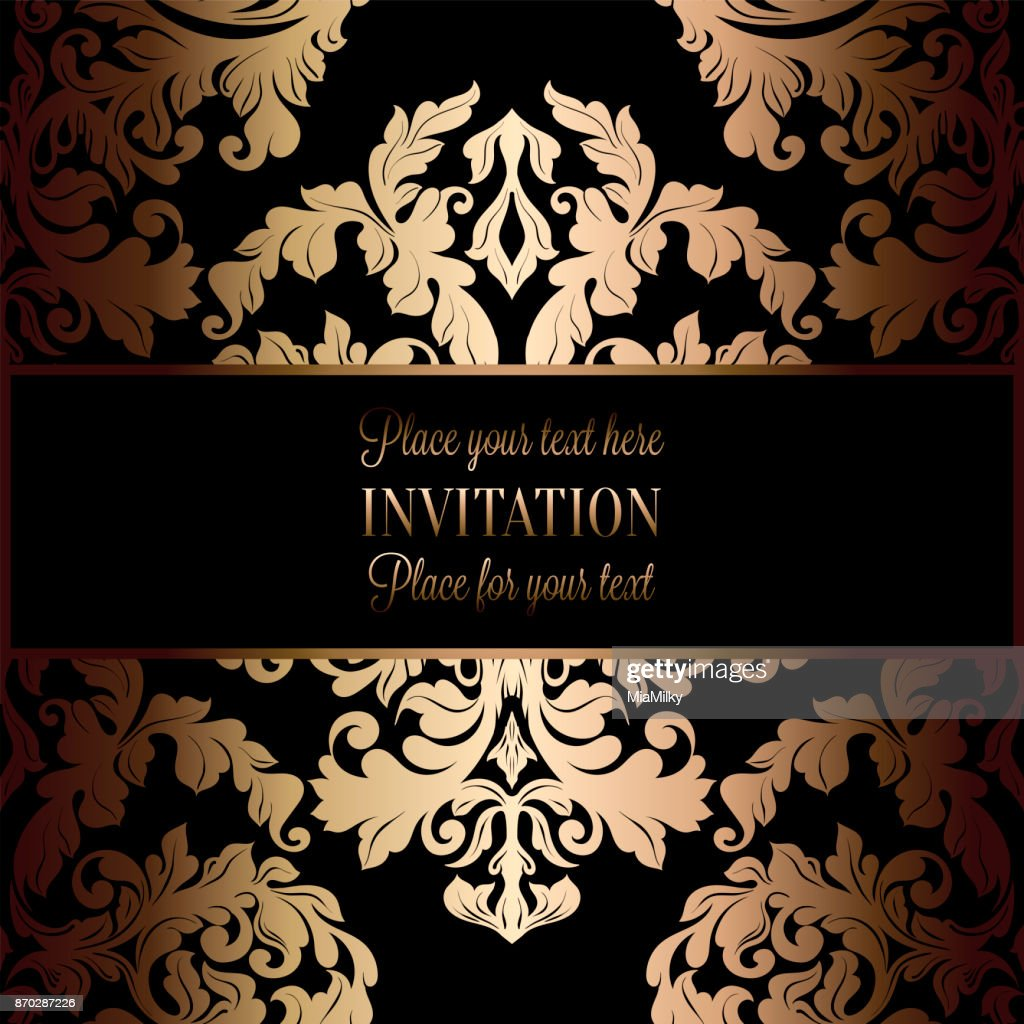 Barocke Hintergrund Mit Antik Luxus Schwarz Und Gold Vintage Rahmen