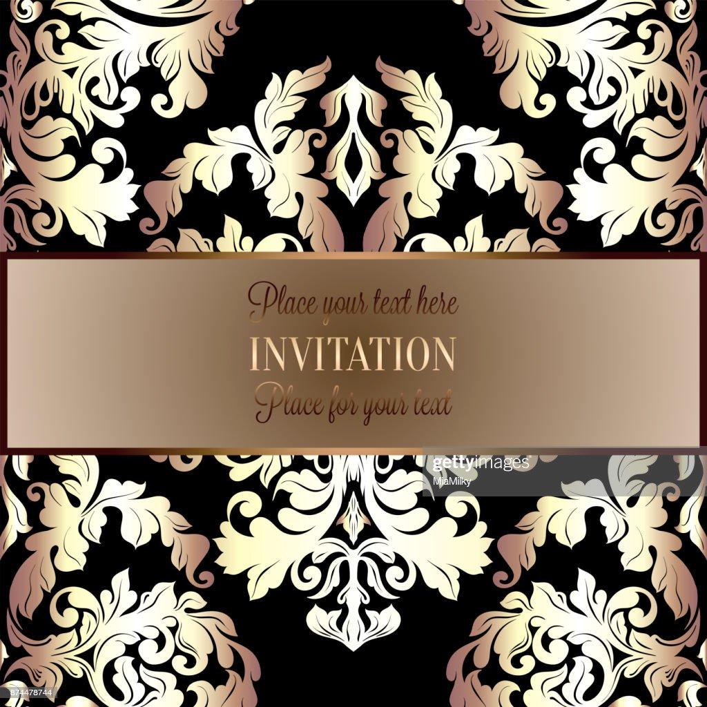 Barocke Hintergrund Mit Antik Luxus Schwarz Und Gold Vintage Rahmen ...