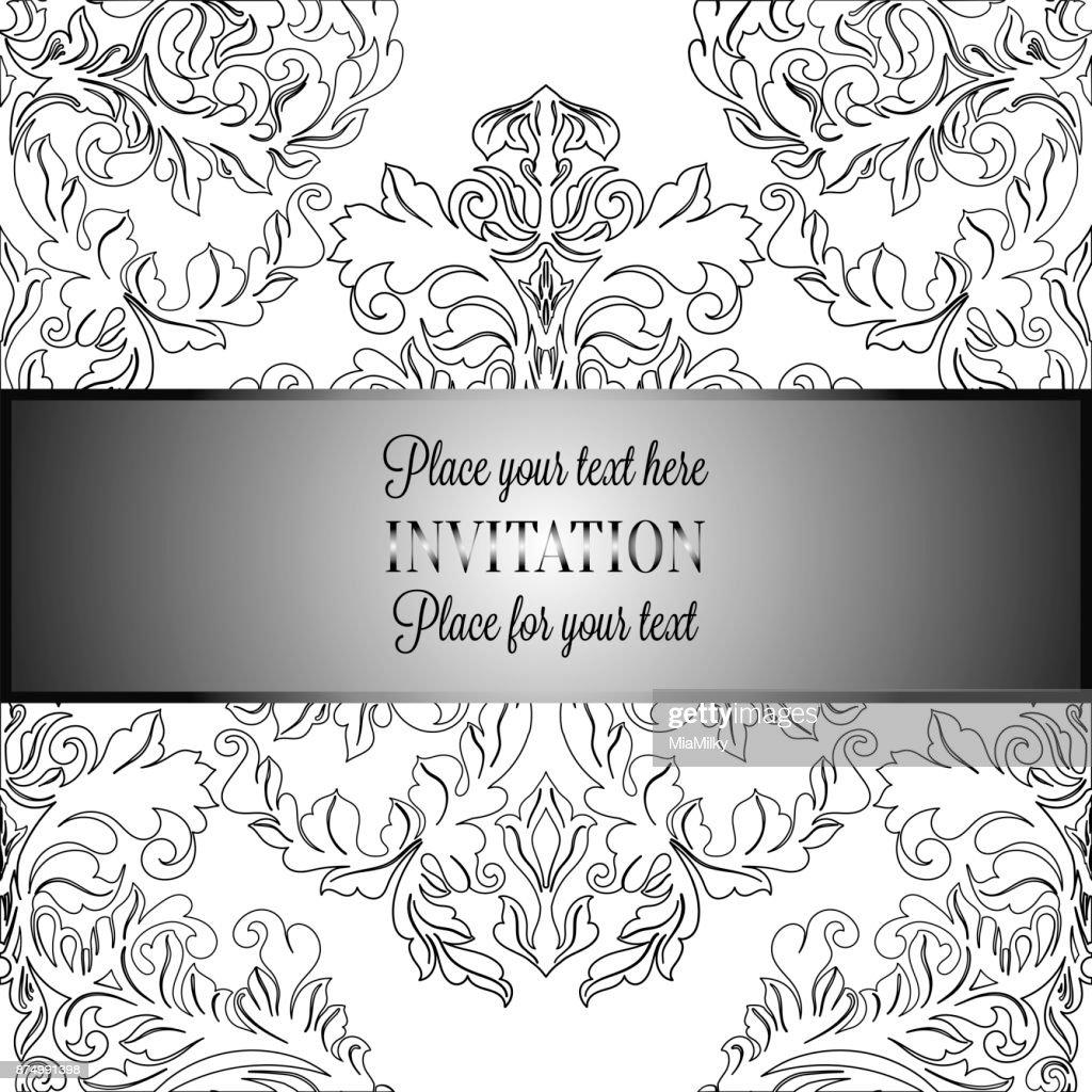 Barocke Hintergrund Mit Antik Luxus Schwarz Weißvintagerahmen ...