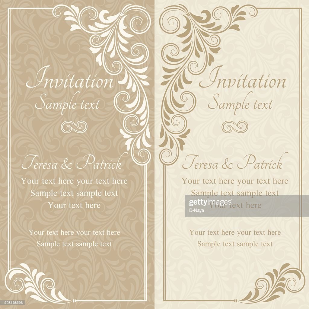 Baroque invitation, beige