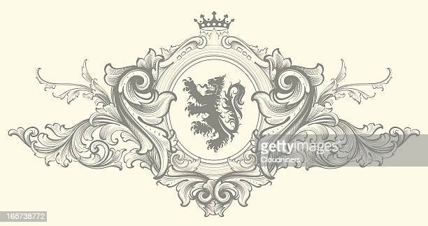 baroque nobility coat of arms - intricacy stock illustrations