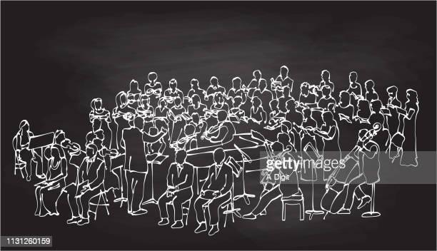 illustrations, cliparts, dessins animés et icônes de craie d'orchestre baroque - pupitre à musique