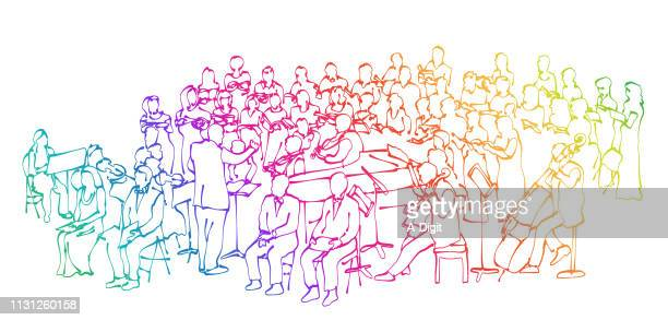 baroque orchestra rainbow - orchestra stock illustrations, clip art, cartoons, & icons