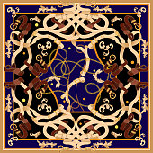 Baroque patch with golden chains and belts. Vector scarf