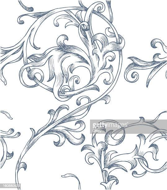 baroque pattern - baroque style stock illustrations