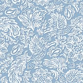 Baroque pattern with birds and flowers, blue