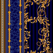 Baroque seamless pattern with chains, ropes, brushes. Vector patch for scarf.