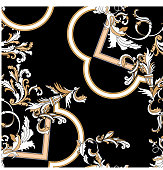 Baroque seamless pattern with moldings. Vector patch for print, fabric, scarf