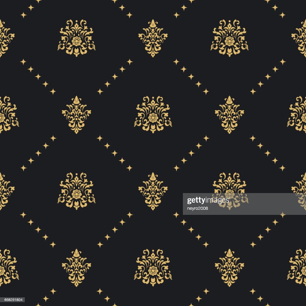 Baroque vintage background with golden ornament