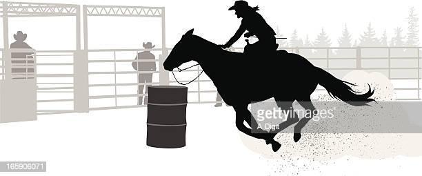 ilustrações de stock, clip art, desenhos animados e ícones de barrelrace - rodeio