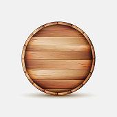 Barrel Wooden Sign Vector. Wooden Barrel Signboard For Cafe, Restaurant, Bistro, Brasserie, Beer, Wine Or Whiskey