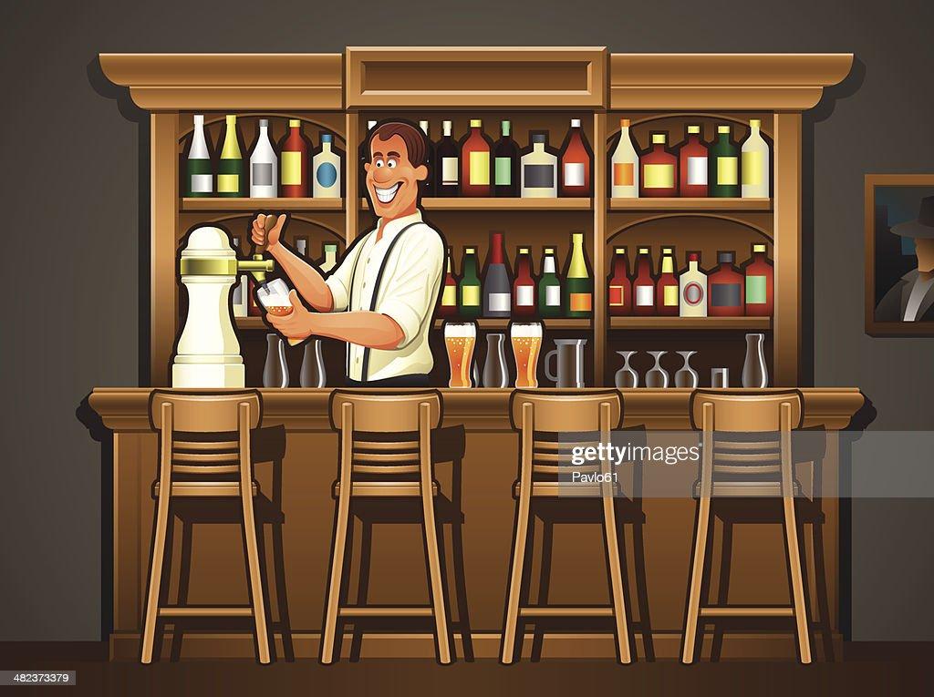 Bartender  at Pub Bar Counter - Illustration