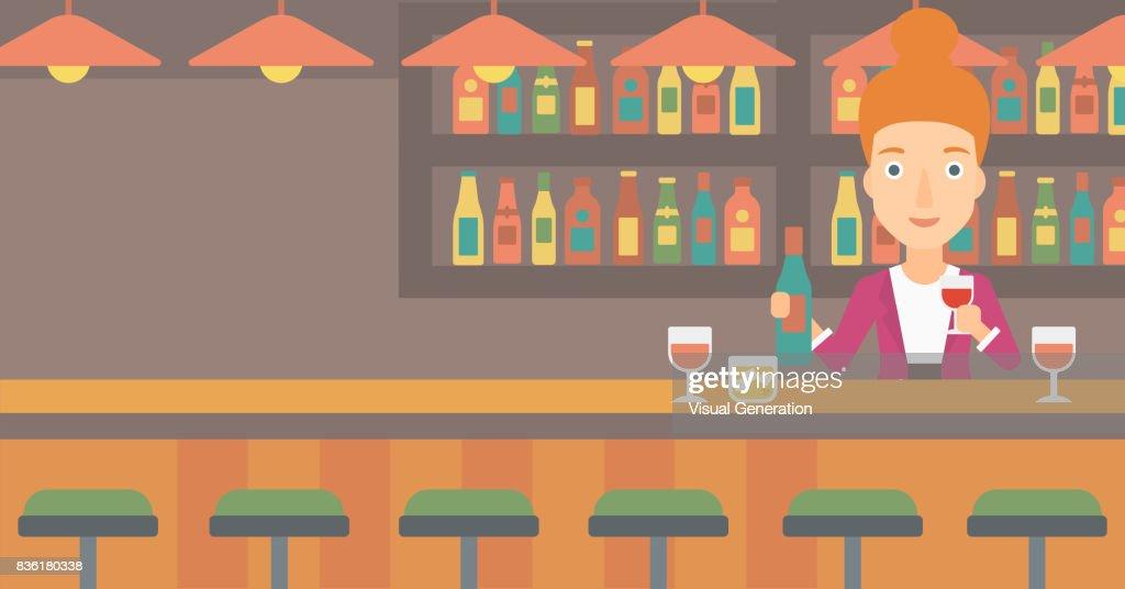 Barkeeper Stehend An Der Bar Theke Vektorgrafik | Getty Images