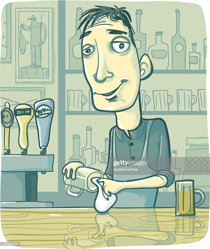 Bartender Wiping Beer Glass at Pub Bar Counter