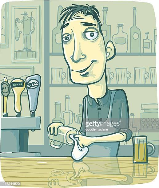 bartender wiping beer glass at pub bar counter - rum stock illustrations, clip art, cartoons, & icons