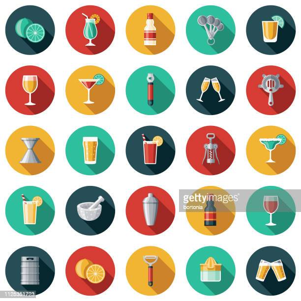 illustrazioni stock, clip art, cartoni animati e icone di tendenza di bartending icon set - bibita
