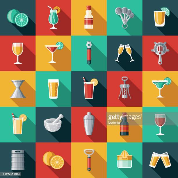 bartending icon set - tequila drink stock illustrations, clip art, cartoons, & icons