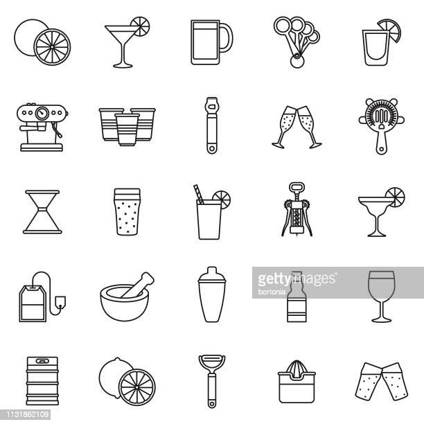 bartending thin line icon set - shot glass stock illustrations, clip art, cartoons, & icons