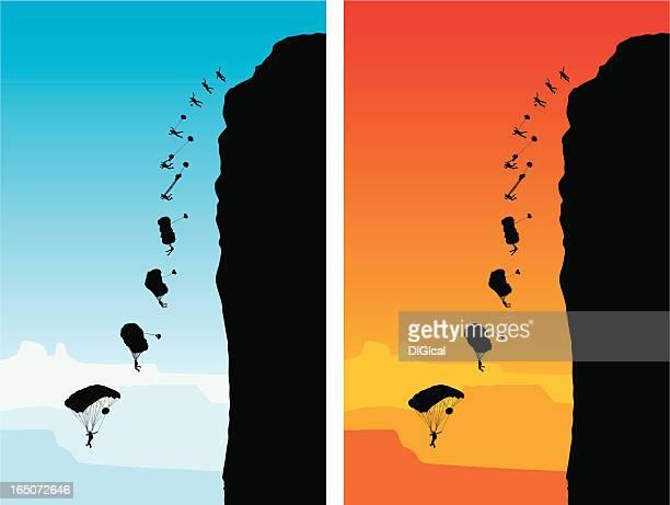 illustrations, cliparts, dessins animés et icônes de base jump - saut en parachute