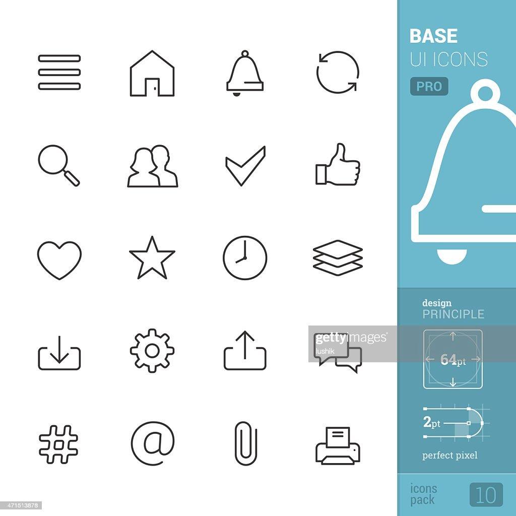 ベース UI 関連のベクトルのアイコンをパック-PRO : ストックイラストレーション