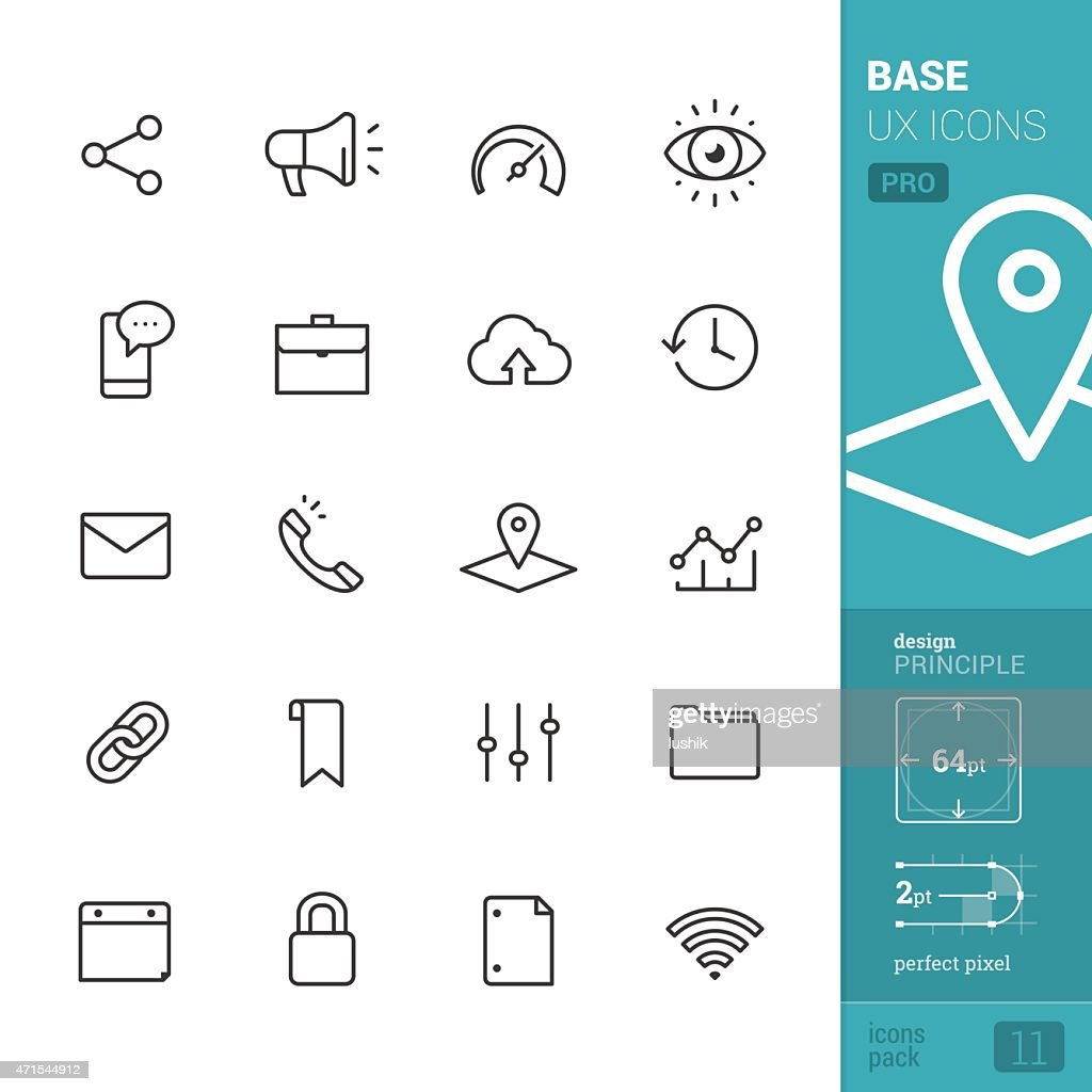 Base UX related vector icons - PRO pack