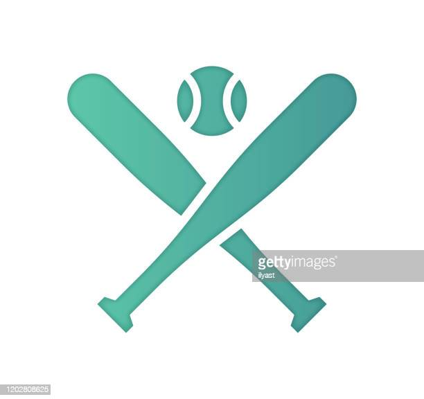 baseball analytics gradient color & papercut style icon design - sports bat stock illustrations