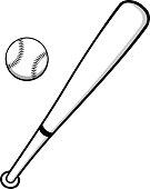 Baseball and Bat Illustration