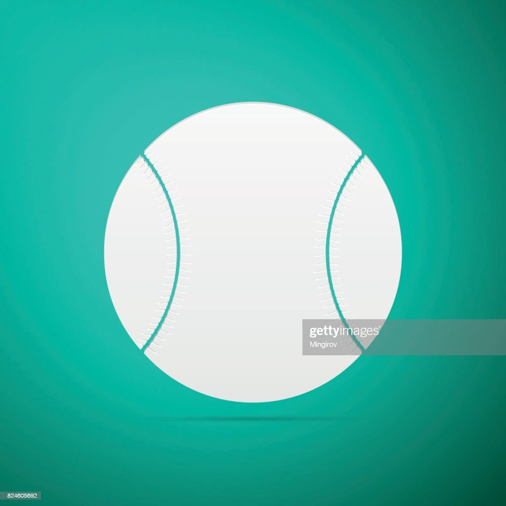 d8b4a89d4c362 Baseball ball flat icon on blue background. Vector Illustration   stock  vector