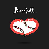 Baseball ball shaped as a heart