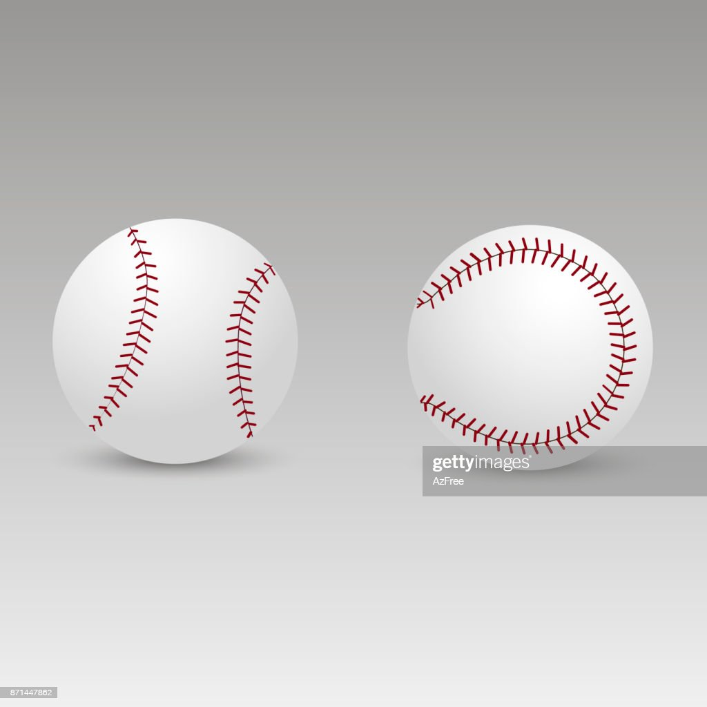 Baseball ball with soft shadow. Vector.