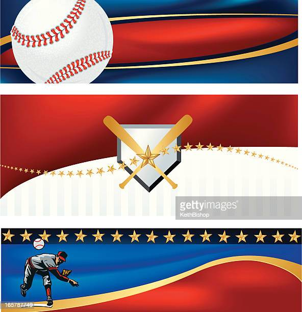 Baseball Banner Background with Stars and Stripes