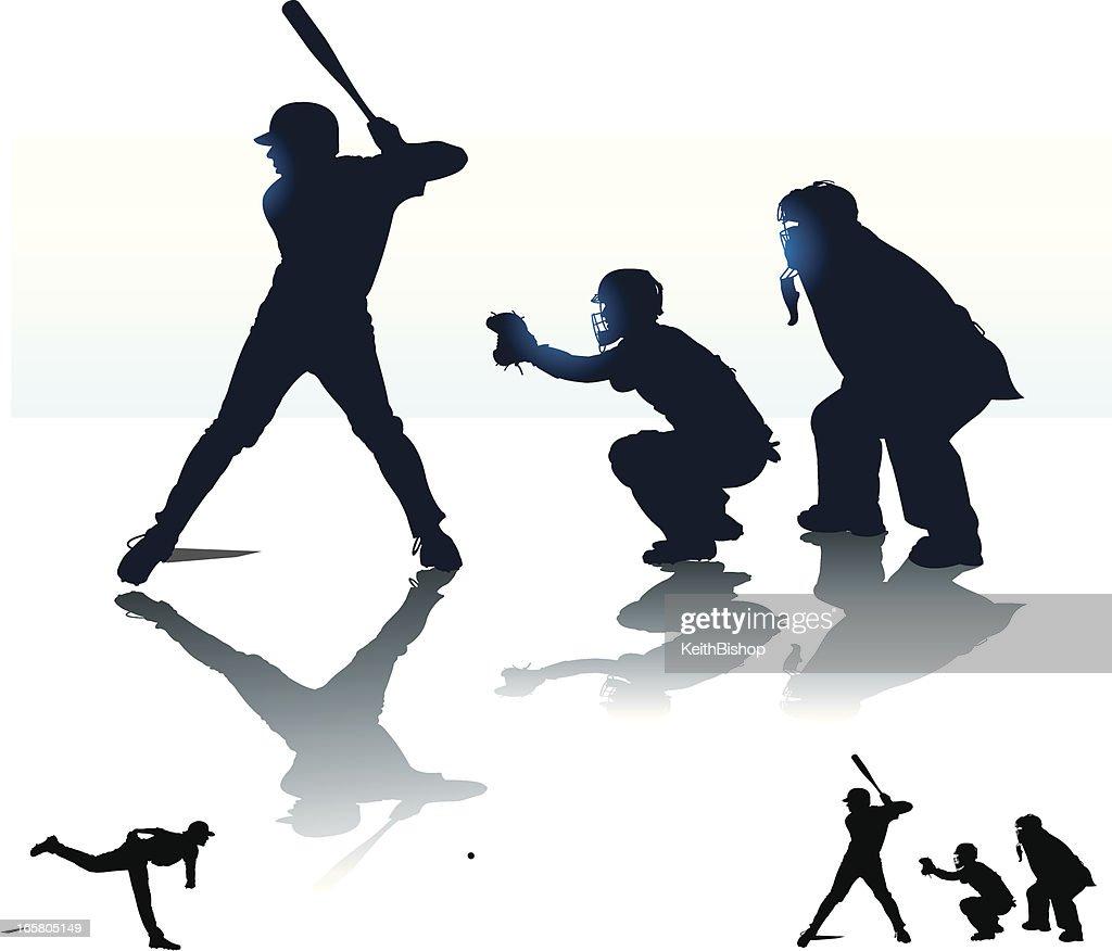 Baseball Batter Batting with Catcher & Umpire - At Bat